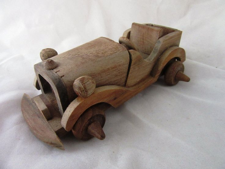 Vintage wooden hand made toy car, unpainted. Collectible toys, miniature car collection by SavyonsTreasuresbox on Etsy