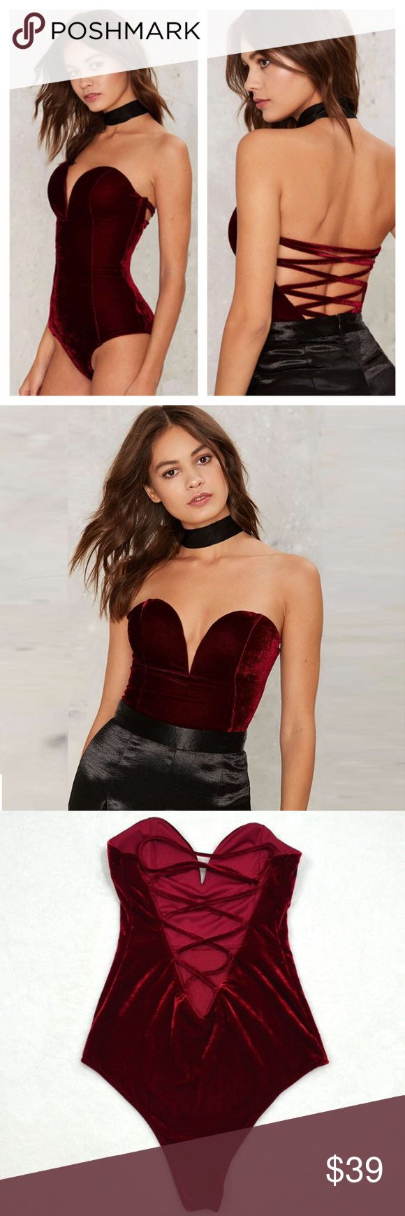 LAST ONE Velvet Lace Up Back Strapless Bodysuit Brand new gorgeous bodysuit. Laces up back and snaps at crotch. Ship same day if ordered by 10:00 CST. Bundle 3 items and save 15% Tops