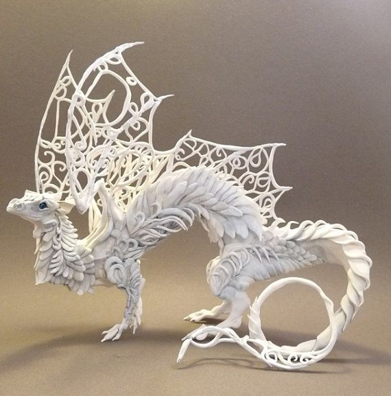 The artist's name is Ellen Jewett, she is so amazingly talented! She has an Etsy shop called Creatures From E. She makes dragons, wolves, elephants and more. I hope she makes a bajillion dollars. This could also be filed under Make It! Pagan, Yule, Wish List, Home Decor and Art. I have loved this dragon for years!