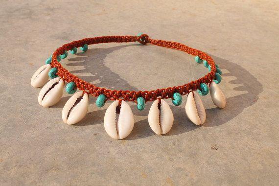 Cowrie Choker / Shell Necklace / Cowrie Shell Macrame Collar