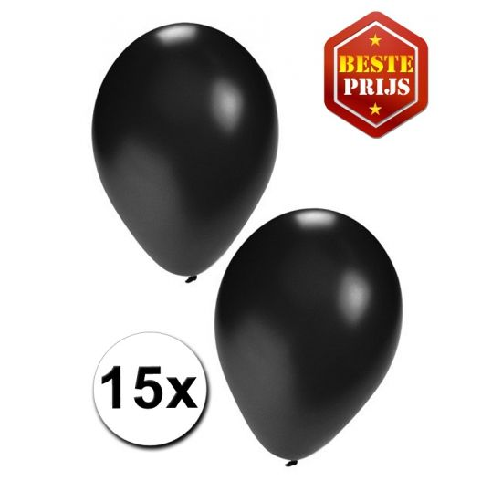 Zwarte ballonnen 15 stuks. Het formaat van de zwarte ballonnen is ongeveer 27 cm en ze zijn geschikt voor helium of lucht.