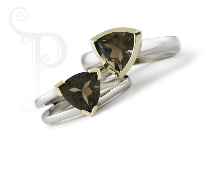 Hand Made 9ct White & Yellow Gold Solitaire rings Set with a Trillion cut Smokey Quartz