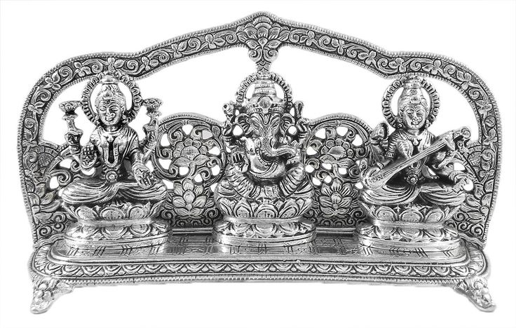 Lakshmi,+Saraswati+and+Ganesha+(White+metal)