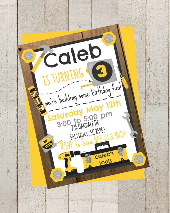 Tool Theme Birthday Party Invite, Boys Birthday Invite,Construction Invite, Personalized Year Birthday Invite