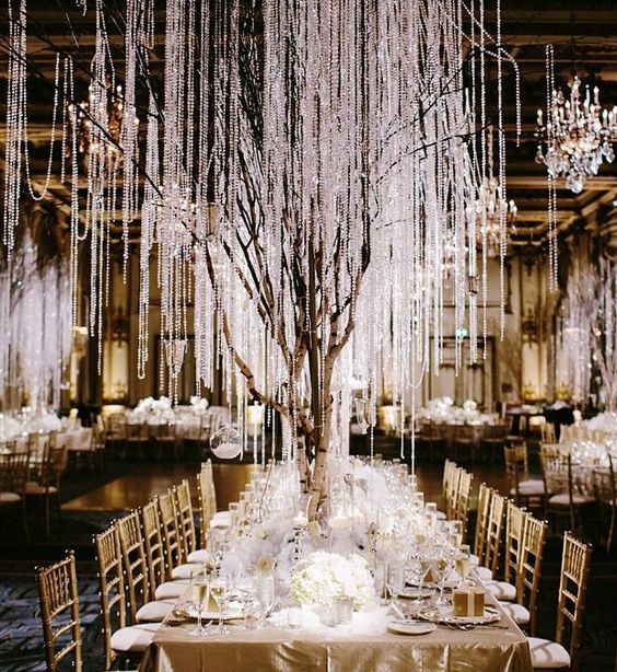 Black And Gold Indoor Winter Wedding Reception