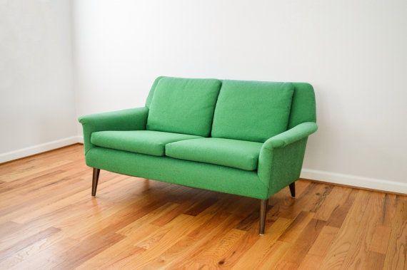 mid century sofa, loveseat, couch, beautiful mid century modern loveseat sofa settee in a striking kelly green, original upholstery, vintage