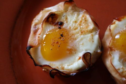Line a muffin tin with slices of turkey. Crack an egg into each muffin spot, and season with salt, pepper, and paprika.  Bake at 375ºF for 20 minutes