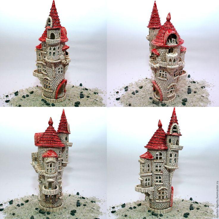 """Купить Подсвечник """"Замок Гретель"""" - голубой, замок, средневековье, сказка…"""