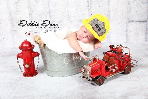 Crochet fireman hat photo prop, newborn prop, play hat, photo prop on Etsy, $25.00
