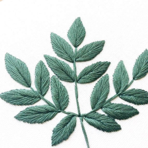 Aralia Spinosa Leaves Embroidery Hoop Dark Green by SewandSaunders