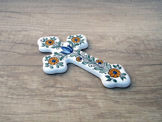 Ceramic Cross with blue yellow green Flower. by HabanCeramic, $15.00