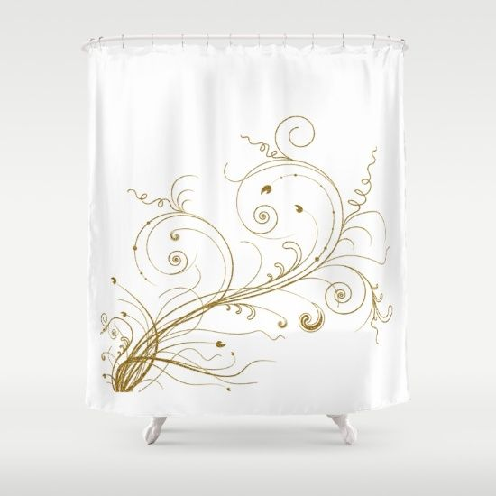 49 best SHOWER CURTAINS-White & Gold (metallic) images on ...