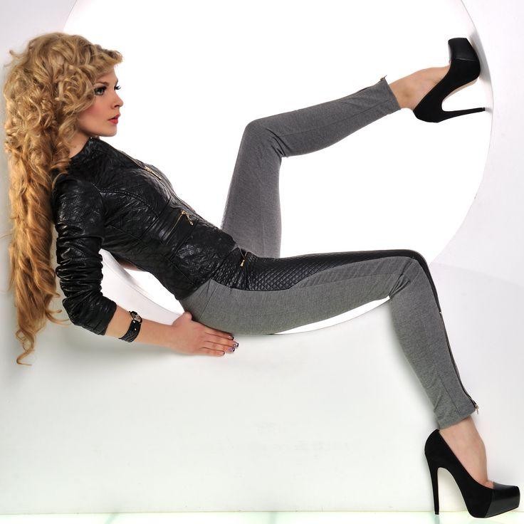 Pantaloni tip colanti cu insertii piele | New Fashion Romania  >> Click pe poza pentru a vedea pretul. #PantaloniDama