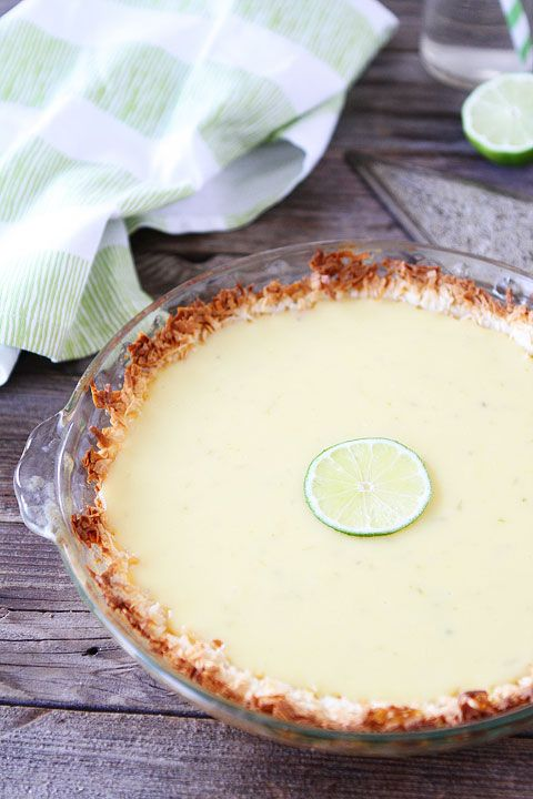 Key Lime Pie with Coconut Macaroon Crust Recipe on twopeasandtheirpod.com. I love the coconut macaroon crust! A fantastic key lime pie recip...