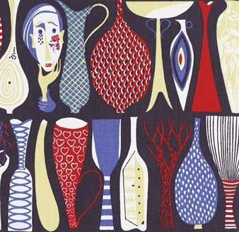 Tyget Pottery från Ljungbergs Factory designades redan på 50-talet och har ända sedan dess varit ett mycket uppskattat och vackert tyg som passar perfekt som gardin eller som möbeltyg.