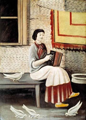 """""""Sona Gorashvili playing accordion"""", 1898, Niko Pirosmani (Georgian)"""