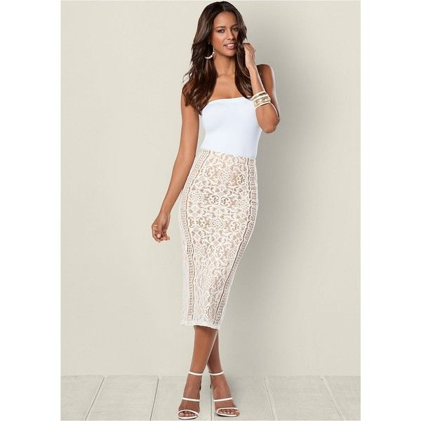 Venus Women's Lace Midi Skirt ($28) ❤ liked on Polyvore featuring skirts, knee length lace skirt, lacy skirt, calf length skirts, lace midi skirt and elastic waist skirt