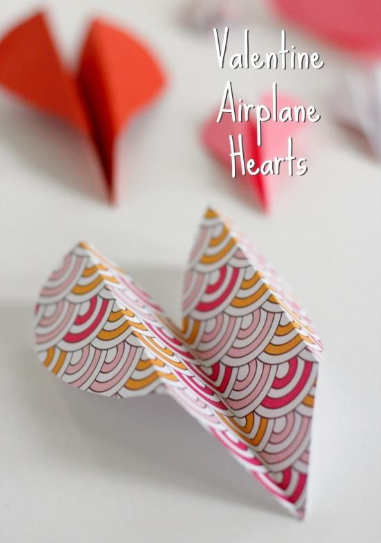 Folding Heart Airplane Valentine Crafts for kids @Make and Takes.com