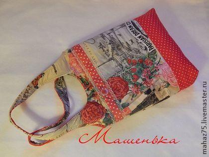 """Сумка """"Париж 2"""" - ярко-красный,рисунок,Париж,летняя сумка,красный горошек"""