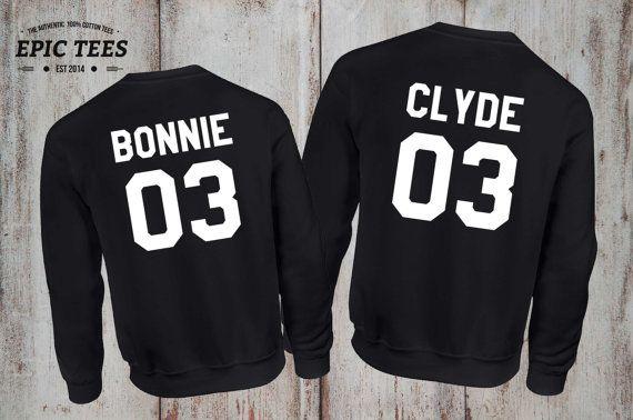 Bonnie Clyde 03 Set of 2 Couple Crewnecks, Bonnie Clyde 03 Set of 2 Couple Sweaters 100% cotton Tee, UNISEX