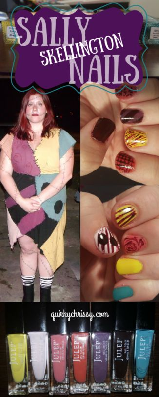 To match my Sally Skellington costume, I decided to paint my nails with a variety of colors and tools, creating a neat patchwork nail look.