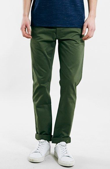 $24, Olive Chinos: Topman Ltd Core Collection Slim Tapered Chinos. Sold by Nordstrom. Click for more info: https://lookastic.com/men/shop_items/295952/redirect
