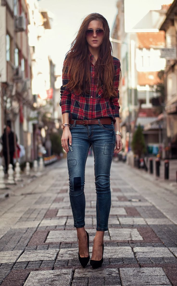 Streetstyle Fashionblogger Checked Shirt Outfit Denim Skinny Jeans Mango Aviator Glasses ...