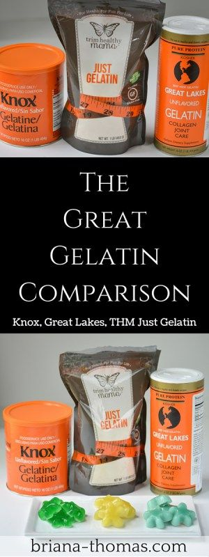 In this post, I compared three gelatin brands: Knox, Great Lakes, and THM Just Gelatin.  Here are my findings and ratios for substitution!