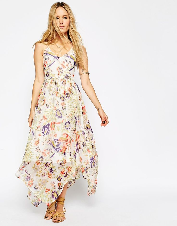 ASOS Maxi Dress in Bird and Flower Print with Tie Back