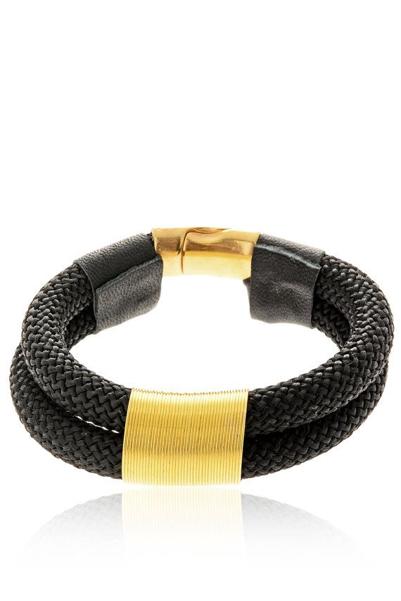 Rope Bracelet  Statement Jewelry Beautiful Black by EleannaKatsira, €39.00