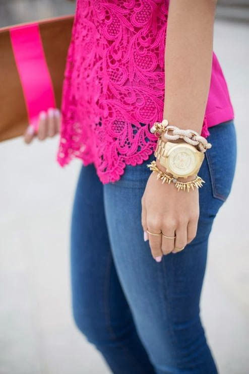 LOVE this neon pink color, especially with jeans, and gold wrist -- Neon Pink Lace Top, Jeans, Gold Accessories | Gloss Fashionista