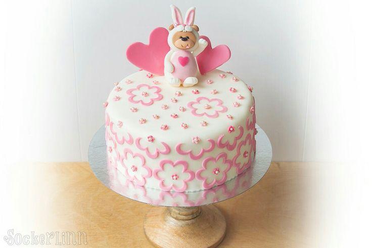 Babyshower tårta babyshowercake cake nalle teddy bear hearts love cute girl pink flicka ⭐sockerlinn.se⭐