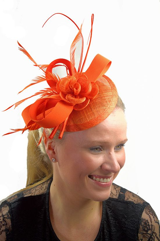 Orange Hat Fascinator with Quill, Rose Detail & Clip - Orange is set to be a big colour this Spring/Summer.