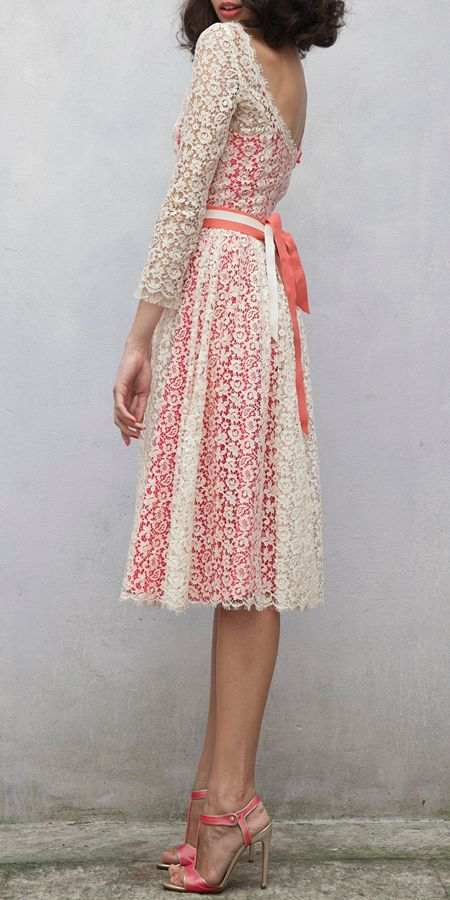 Women's fashion   White lace dress over coral   Just a Pretty Style