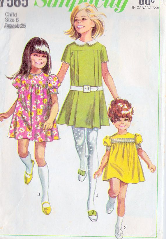 1960s Girls Dress Vintage Sewing Pattern, Simplicity 7565 size 6