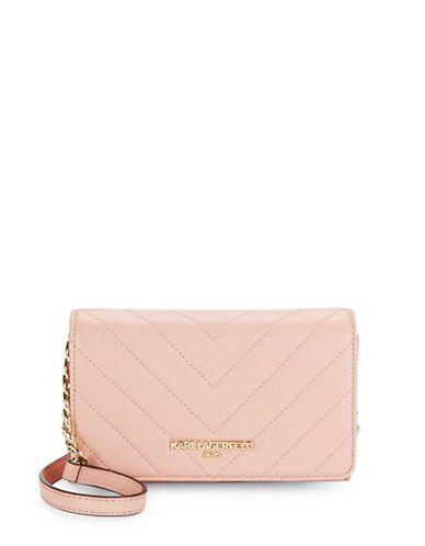 Karl Lagerfeld Paris Gigi Leather Crossbody Bag Women's Blush