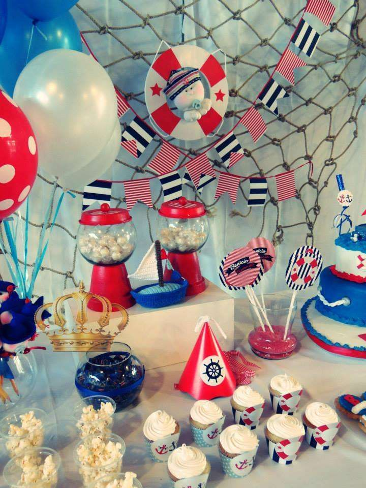 Nautical birthday party treats! See more party planning ideas at CatchMyParty.com!