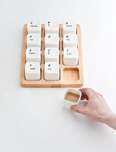 「テンキー」のコーヒーカップセット【Keyboard Coffee Cups】