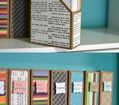 Caixa de cereais podem organizar documentos. / Crédito: Pinterest.