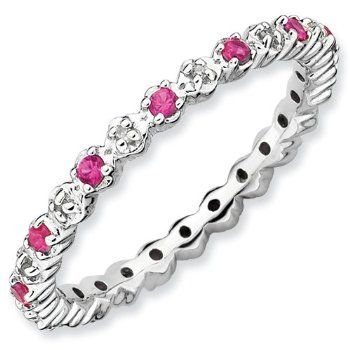 Stackable Expressions Sterling Silver Stackable Expressions Cr. Ruby & Diamond Ring