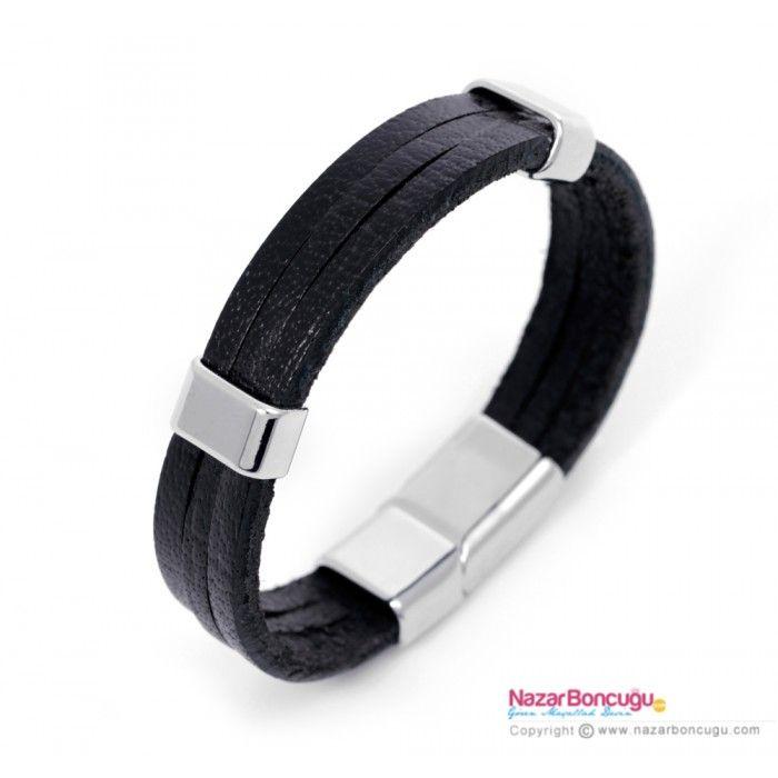 Paslanmaz Çelik Tokalı Siyah Erkek Deri Bileklik - Erkek deri bileklik modelleri arasında, üç banttan oluşan siyah deri kayışı ve paslanmaz çelik özel tokası ile sade bir model. NazarBoncugu.com