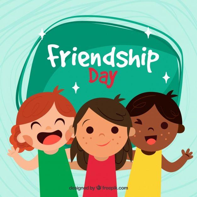 Friendship day background with three children Free Vector