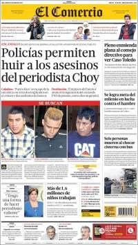 JUEVES 13 de JUNIO de 2013   (PORTADA DE EL COMERCIO)