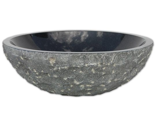 stone sinks eden bath black granite sink rough exterior polished interior in vessel sinks