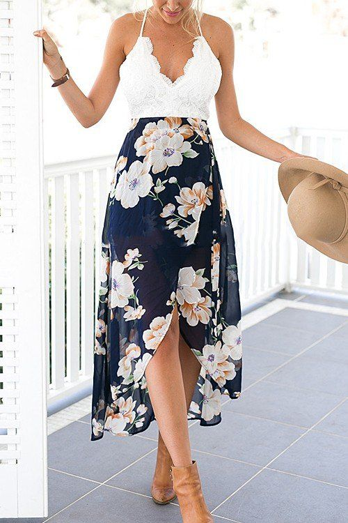 Wrap Front Floral Print Maxi Dress with Lace Details -YOINS
