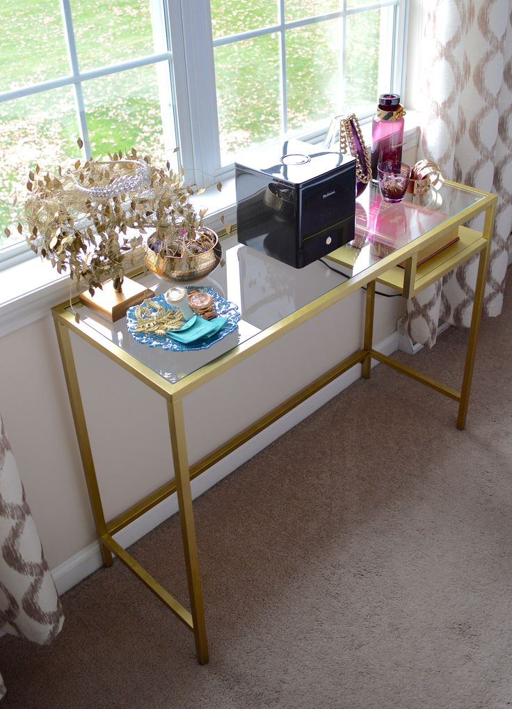 diy gold console table out of the ikea vittsj lap top table