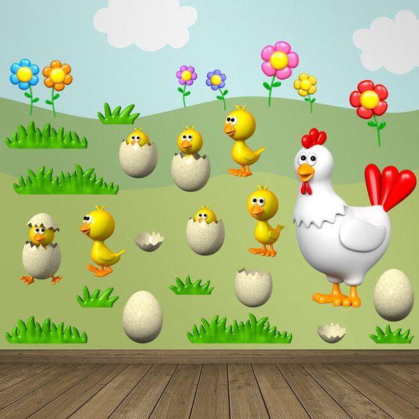 Vinilos Infantiles: Kit gallina y pollitos. Vinilo decorativo infantil en kit. #vinilosdecorativos #decoracion #patrones #mosaico #gallina #polluelos #huevos #teleadhesivo