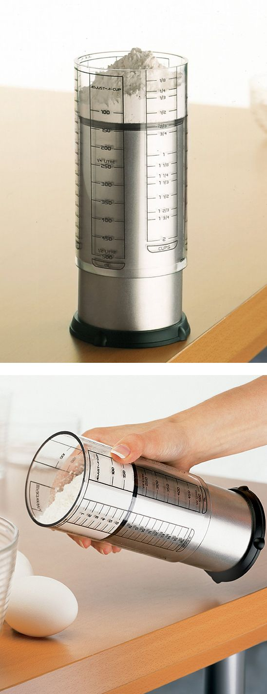 Adjustable measuring cup - slide the cup up or down to adjust. Works with solids and liquids.