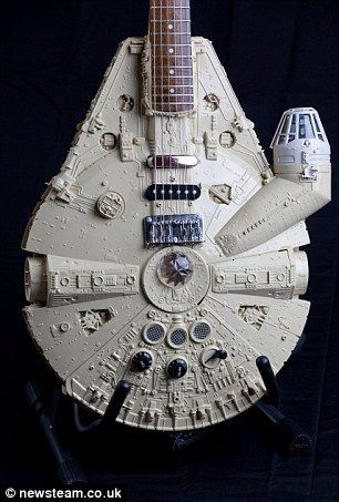 This Millenium Falcon guitar was built using a 140-piece kit of the iconic Star Wars spacecraft commanded by Han Solo.