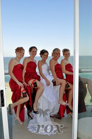Stylish Wedding Garter Flasks on show from this Ocean City Bridal Party at the Courtyard Marriott Hotel - photo by Rox Beach Weddings:  http://roxbeach.com/